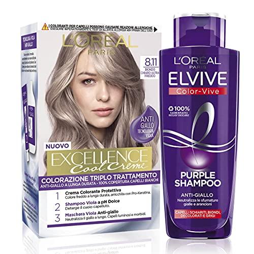 L Oréal Paris Cofanetto Colorazione Color&Care Cool, Include 1 Tinta Capelli Excellence Cool Crème e 1 Shampoo Antigiallo Elvive Purple, Biondo Chiaro Ultra Freddo (8.11)