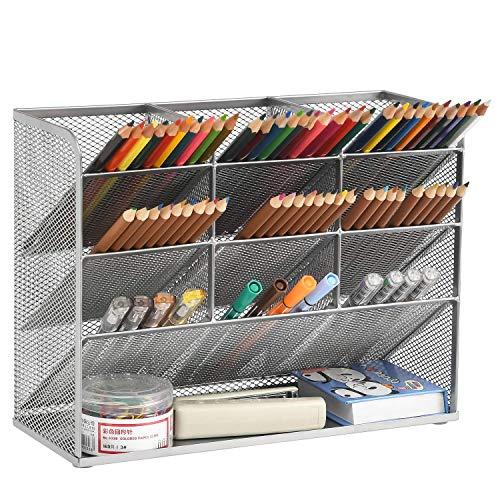 Marbrasse Organizador de escritorio de malla, Organizador de bolígrafo para escritorio, estante de Almacenamiento para Suministros de Arte de Oficina en el hogar de la escuela (Plata)