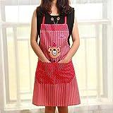 mhde Grembiuli 1Pc Cartoon Grembiule da Orso con Tasca per Chef Cucina Grembiule da Cuoco Accessori per La Pulizia della Casa AccessoriRosso