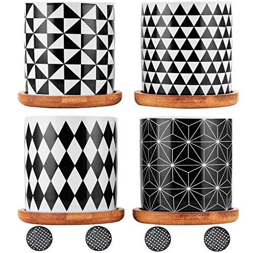 Coolty 4pcs Vaso per Piante Grasse in Ceramica, geometria Mini Vasi di Cactus con Vassoio in Bambù per la Casa e L'Ufficio Perfetto Idea Regalo