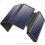 ソーラーチャージャー モバイルバッテリー 大容量 26800mAh 【4枚ソーラーパネル Type-C/MicroUSBの入力対応】 折り畳み式 ソーラーモバイルバッテリー 2台同時充電 残量表示 太陽光充電 地震/災害/旅行/アウトドア活動 全機種対応 ソーラー充電器