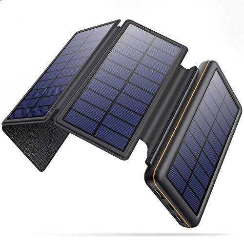 ソーラーモバイルバッテリー 26800mAh 大容量 折り畳み ソーラーチャージャー Type-C/Micro USB入力ポート ソーラー充電器 急速充電 2USB出力ポート 太陽光で充電可能 地震/災害/台風に対策 iPhone/iPad/Android各種対応