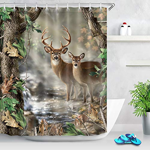 Wildlife Deer Shower Curtains for Bathroom Decor,Hunting Camo Shower Curtain Bathroom Decor,Foggy Forest Elk Animal Curtain Waterproof Fabric 59x70 Inches with Hooks