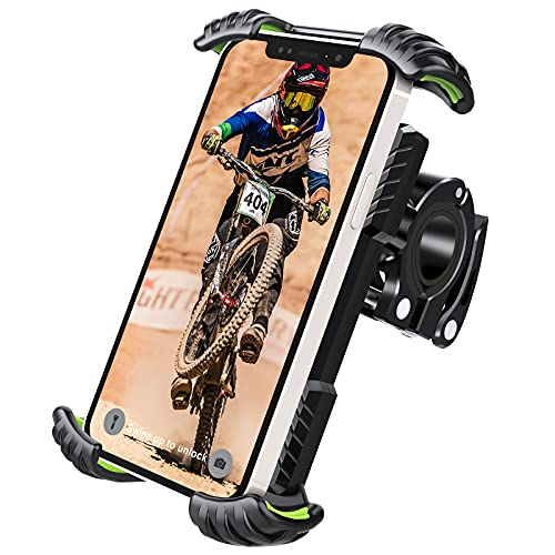 Soporte Movil Bicicleta, Techole Soporte Movil Moto Bicicleta Montaña con Rotación 360°, Anti Vibración Soporte Movil Bicicleta Universal para iPhone 12/12 Pro/12 Mini/11(4.7-7.0 Pulgadas) Smartphones