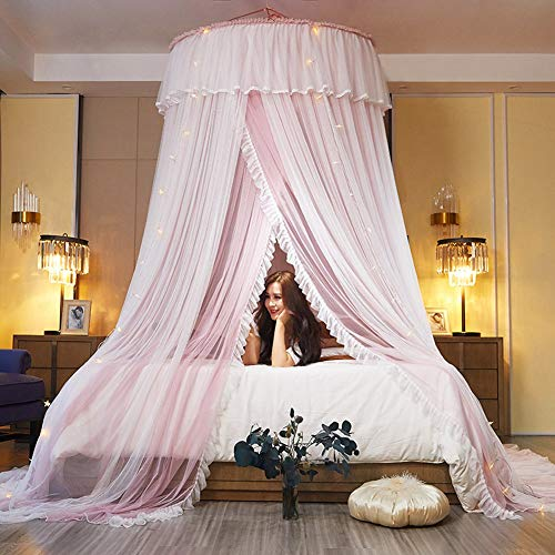Hanging Princess Dome Mosquito Net Bed Canopy, Lengthened Encrypted Double Layer Yarn, Overlapping Lace Door, Suitable for Single Bed to King Size Bed,Pink and White,No Light