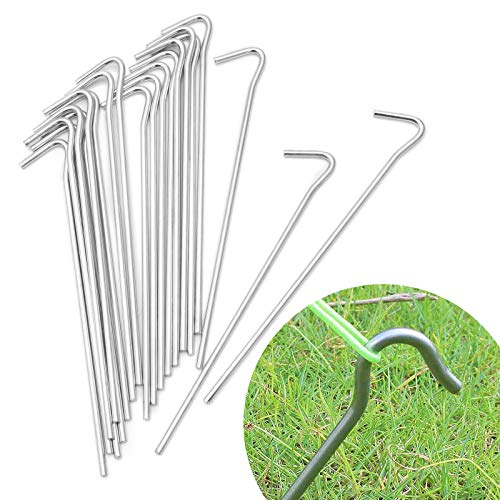 20pcs Tent Pegs, SurePromise Metal Tent Hooks Heavy Duty Tent Nail Camping Stakes Nail Hooks for Gardening Hiking (200 * 30mm)