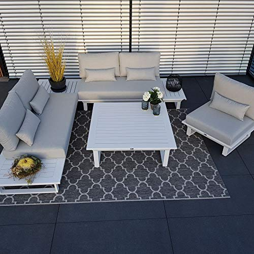ICM Alu Gartenlounge Set Grenoble Aluminium weiß Gartenmöbel Loungegruppe Terrassenmöbel Outdoormöbel Loungeset Outdoorlounge Gartenmöbelset