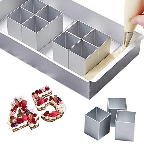 Aluminium Anzahl Kuchenformen, rechteckige verstellbare Kuchen Backform, für Hochzeit Geburtstag Weihnachtskuchen Kochen, Antihaft Interessante Buchstaben Zahlen DIY Backformen