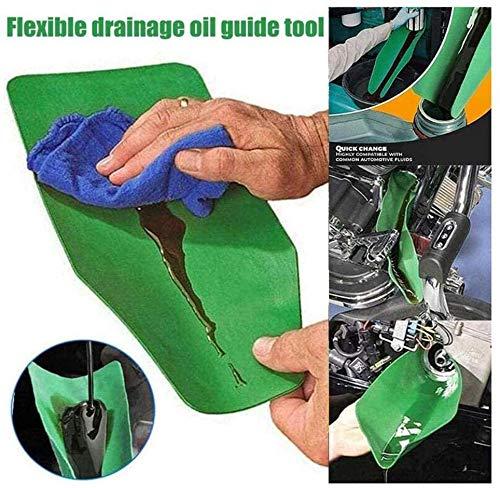 Deluxe Flexibler Öltrichter Ölführungswerkzeug Ölfiltertrichter Resuable Folding Allzwecktrichter, Wasserölablasswerkzeug Für Benzin, Wasser, Bremsflüssigkeit (Grün 1PC, S (37x17cm))