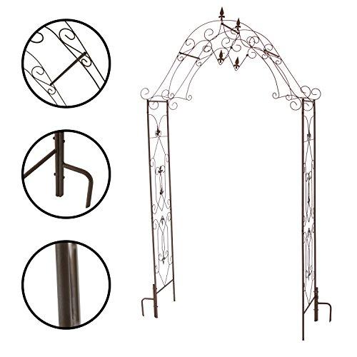 1PLUS robuster Rosenbogen aus Stahl, Gartentor aus Metall Kordes, Edelrostoptik oder Schwarz (Braun)