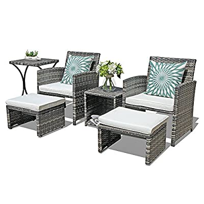 OC Orange-Casual Patio Furniture Conversation Set with Ottoman Grey Wicker Patio Set with Footstools, Balcony Furniture for Apartments