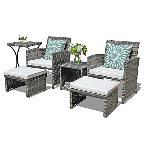 OC Orange-Casual Outdoor Wicker Furniture Set Patio Conversation Chat Set with Ottoman Footstool Storage Side Table Box Lawn Pool Balcony, 6 Piece