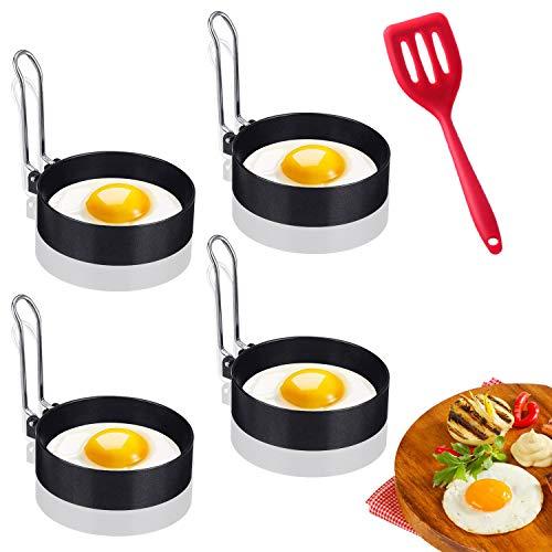 LAOZHOU Edelstahl Ei Ring Spiegeleiform, Spiegeleierformen für Die Pfanne Ei Ringe Pfannkuchenform, Kochzubehör Silikonschaufel (5 Stück)
