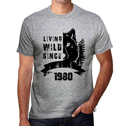 One in the City 1980 Cumpleaños de 41 años, Living Wild Since 1980 Cumpleaños de 41 años Hombre Camiseta Gris Regalo De Cumpleaños