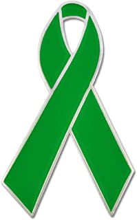 PinMart Green Awareness Ribbon Enamel Lapel Pin