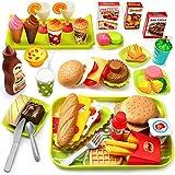 GeyiieTOYS 36 Stück Spiellebensmittel Kinderküche Lebensmittel Essen Spielen Set, DIY Hamburger, Schneiden Obst, Rollenspiele Spielzeug Geschenk für Jungen und Mädchen