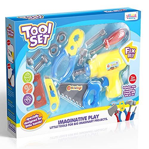 woyada Juego de caja de herramientas para niños Juguetes divertidos juguetes de aprendizaje con juego Taladro eléctrico construcción simulación Accesorios para niños DIY regalos