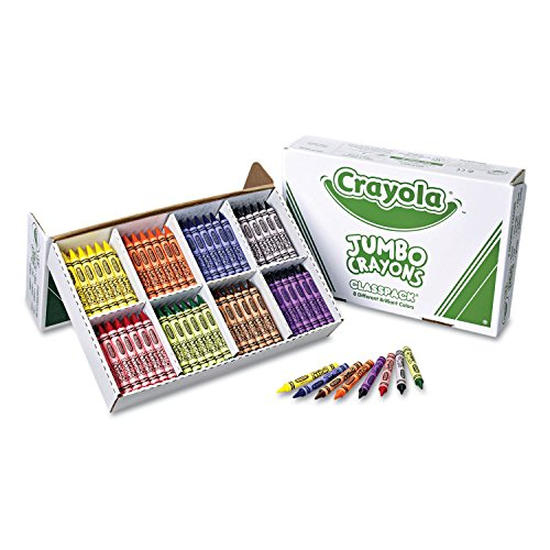 Crayola 528389 Jumbo Classpack Crayons, 25 Each of 8 Colors, 200/Box