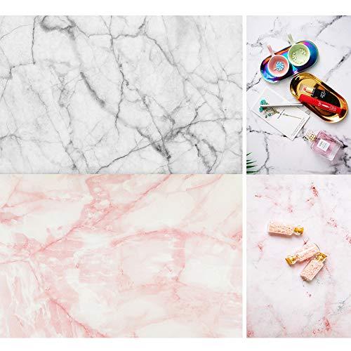 Telón de fondo de fotografía de mármol - Fondo de papel fotográfico a prueba de agua 2 en 1 - Ideal para fotos de alimentos, dedos pequeños, uña 15.7x34.6 pulgadas