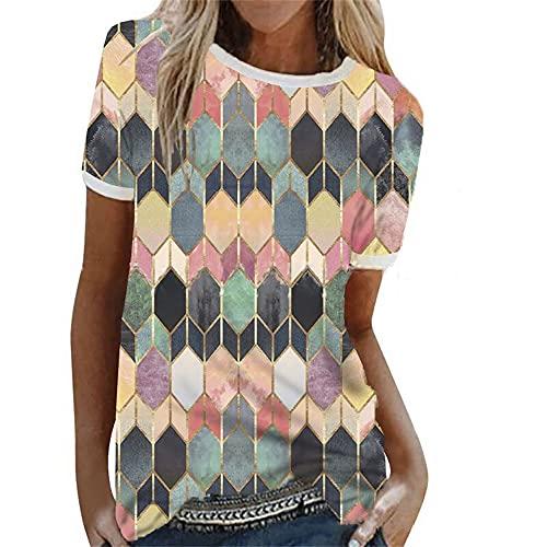 Blusa Mujer Manga Corta Mujer Moda Sexy Elegante Patrón Geométrico Estampado Cuello Redondo T-Shirt Mujer Vacaciones Verano Ocio Suelto Cómodo Mujer Tops