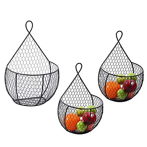 ERYTLLY Metal Fruit Vegetable Baskets Wall Mounted Hanging Display Storage Baskets for Flowers Fruits and Veggies Decorations and MoreSet of 3 Black