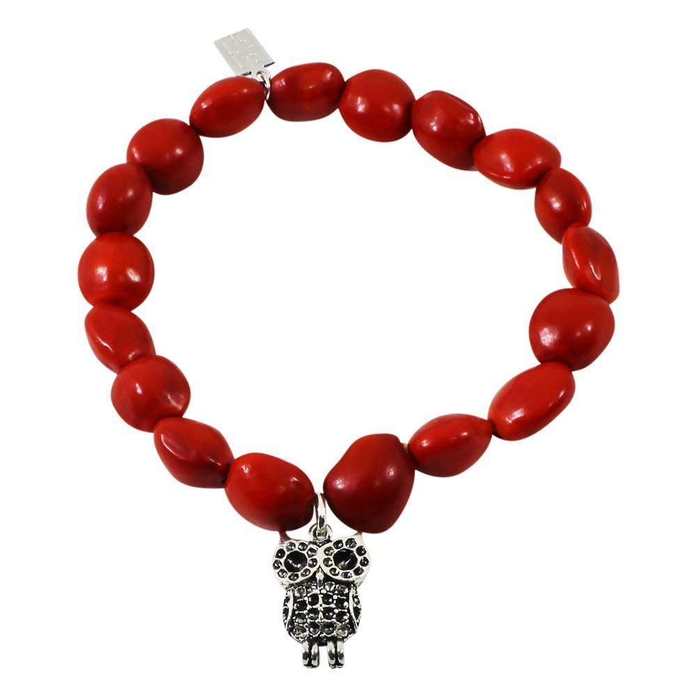 Peruvian Gift Owl Charm Stretchy Bracelet for Women - Meaningful