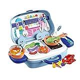 NEWCURLER Step2 Spielküche, Tragbares Picknickkorbspielzeug, Kinderkochen, Rollenspielzeug, Spielkochset, Kinder Spielen Rollenspielzeugzubehör Für Kinder Kleinkinder Mädchen Jungen Geburtstag,Blau