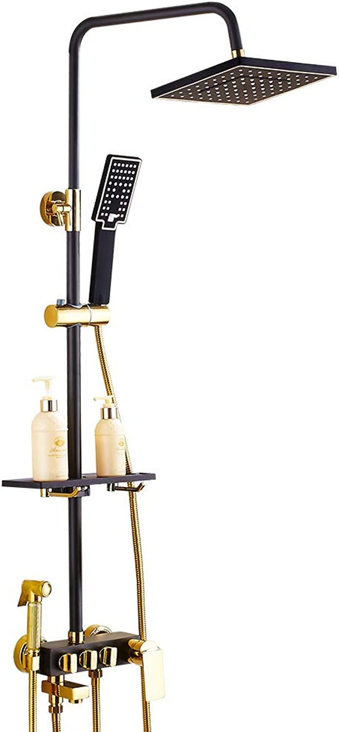PIGE-Shower set Copper European Antique Black Bathroom Pressurized Hot And Cold Water Faucet Wall-mounted Shower