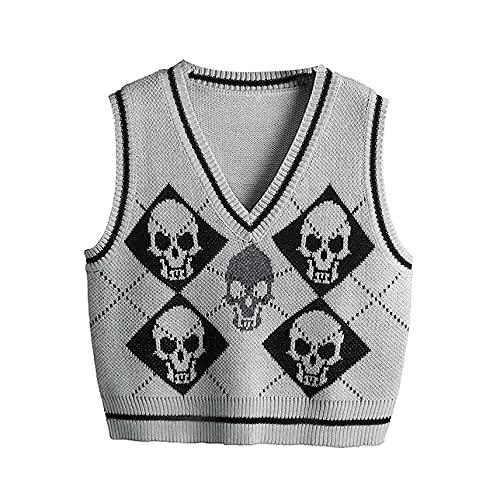 Pabuyafa Chaleco de punto gótico de Halloween para mujer Y2K Skeleton Print Knitwear Argyle V-cuello sin mangas de punto Tops, gris, M