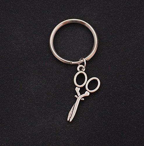 Kleine Schere, Silber Fancy Schere Charme Schlüsselanhänger Key Ring, Friseurin Geschenk, Schneiderin Schmuck, Friseur Schlüsselanhänger, Schere Jewelry
