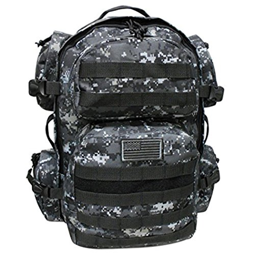NPUSA Men's Large Expandable Tactical Molle Hydration-Ready Backpack Daypack Bag - Urban Camo