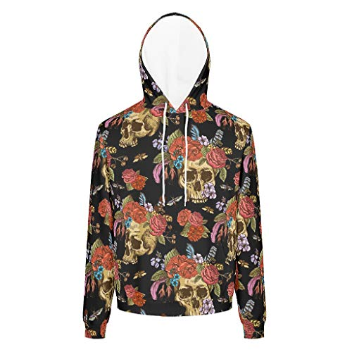 Dogedou Herren Classics Sweat Sweatshirt Skull and Flowers Day of The Dead Langarm Sweatshirt Pullover Rundhals Für Mädchen White l