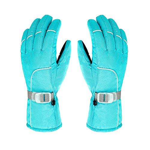 XINHU Invierno Hombres y Mujeres montañismo Caliente Engrosamiento frío Impermeable a Prueba de Viento esquí Montar Guantes al Aire Libre (Color : Sky Blue)