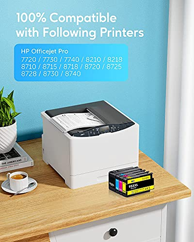 JIMIGO 953XL Reemplazo para HP 953 XL Cartuchos de Tinta Multipack Compatible con HP Officejet Pro 7740 8710 8715 8718 8720 8725 8728 8730 8740 8210, Negro/Cian/Magenta/Amarillo