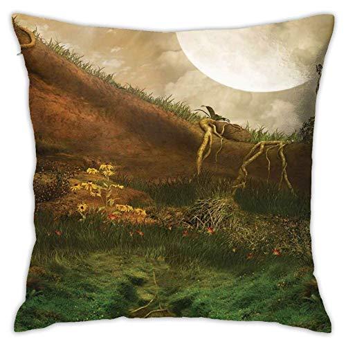 baoan Funda de cojín para cojín, exquisito valle con luna llena gigante y paisaje de fantasía, 45,7 x 45,7 cm