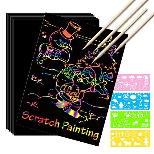 Scratch Paper Art Set, 100 Sheets Rainbow Magic Scratch Paper for Kids Black Scratch it Off Art...