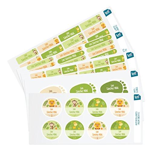 Ludilabel - Pack de etiquetas adhesivas y termoadhesivas personalizadas para la Guardería - Jungla