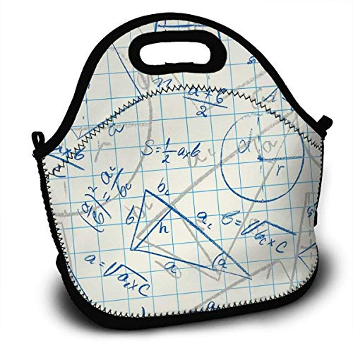 Lunch Container, Trigonometrische Funktion Mathematische Formel Papier Lunch Tragetaschen Lunch Bag Lunchboxen Handtasche Verstaubare Kinder Lunchrucksack 27,5 x 29 x 14,5 cm