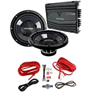 """2) New Kenwood KFC-W112S 12"""" 1600W Car Subwoofers + KAC-5206 400W Amp + Amp Kit"""