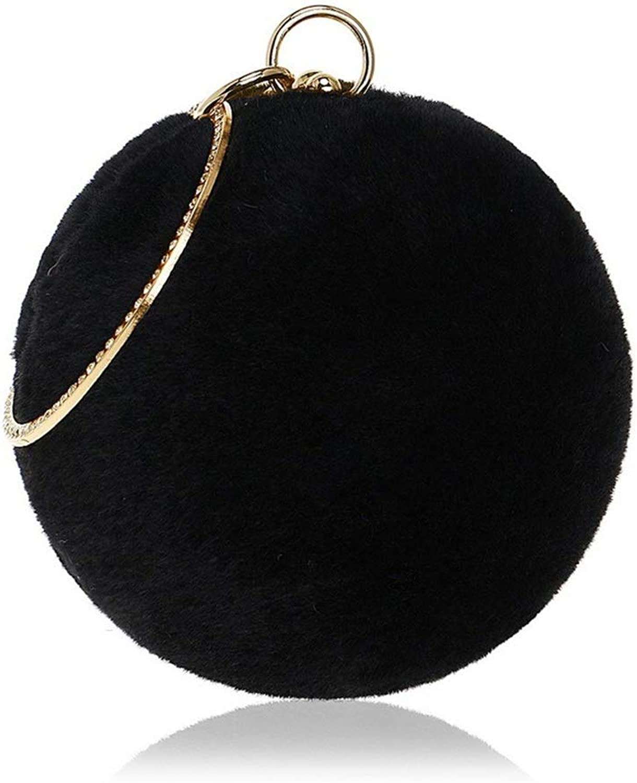 Sturdy New Women's Clutch Purse Crossbody Shoulder Handbag Round Ball Evening Handbag Cocktail Party Wedding Large Capacity (color   Black)