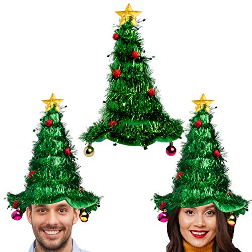 Simply Genius,3 Pack, Christmas Tree Hat Set: Christmas Hat for Party Supplies, Christmas Costumes for Adults and Kids Green