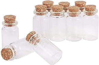POFET 10 stks Mini Lege Helder Glas Wensen Flessen Met Kurk Stoppers voor Sieraden Maken Kraal Containers, ongeveer 22 x 40mm