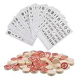 TOYANDONA Juego de Loteria de Bingo Ruso para La Familia de Juegos de Mesa de Lotto Ruso Juego de Tambola de Madera Loteria Tarjetas de Bingo Juguetes Chips 18Mm