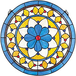 Stained Glass Panel - Victorian Blue Flower Round Stained Glass Window Hangings - Window Treatments