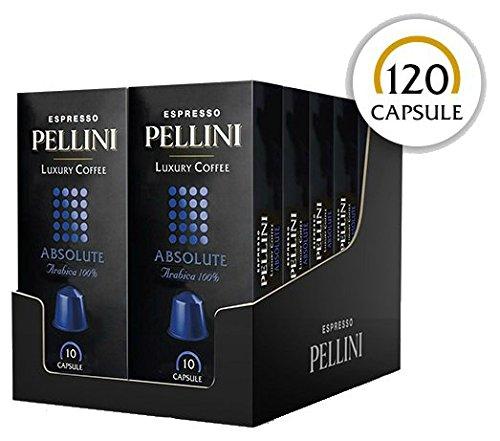 Pellini Caffè - Espresso Pellini Luxury Coffee Absolute (12 Astucci da 10 Capsule, Totale 120 Capsule), Compatibili Nespresso