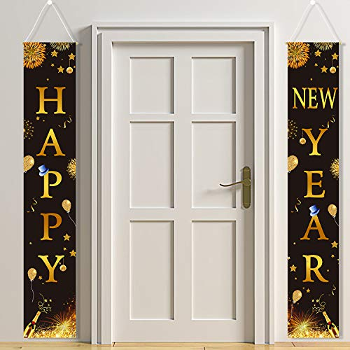 HOWAF 2 Piezas Banderines de Nochevieja Decoración 2021 Negro y Oro, Feliz año Nuevo Pancarta Cartel de Porche Juego de Decoración para Fiesta año Nuevo Banner de Porche de Bienvenida