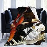 Amknu Manta de Tiro Personalizada,Dos violines y Piano,Manta de Felpa Suave para sofá,Dormitorio,Viaje,Manta mullida 60'X80'