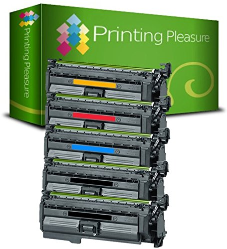 Printing Pleasure 5 Toner kompatibel für HP Color Laserjet CP4025 CP4520 CP4525 CM4540 Serie   CE260A CE261A CE263A CE262A