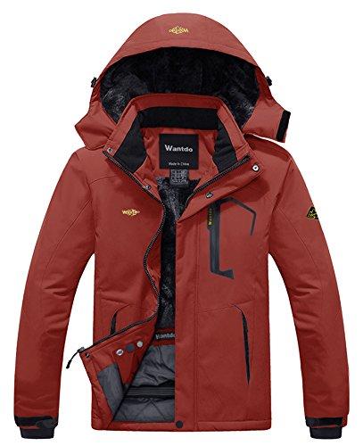 Wantdo Men's Winter Waterproof Ski Jacket Hooded Fleece Coat Parka Brick Red L