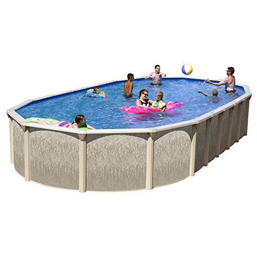 Splash Pools GA NB331852DG-CFP Slim Style Georgian Complete Above Ground Pool Package, 33' x 18' x 52'